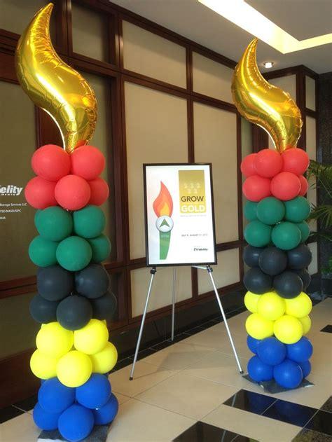 Olympic Themed Balloon Columns #olympic #balloon #column