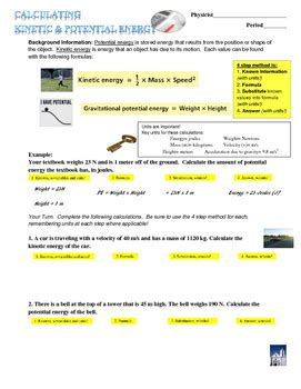 Calculating electrical energy and cost worksheet answers along with energy worksheet year 9 kidz activities many contractors and architects will have a particular area of expertise in this type of calculation but this can become too. Kinetic and Potential Energy Calculations by Sottile ...