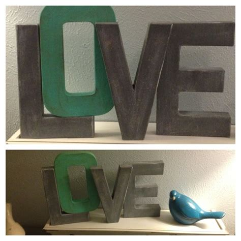 white washed diy cardboard letters painted sanded then stained or