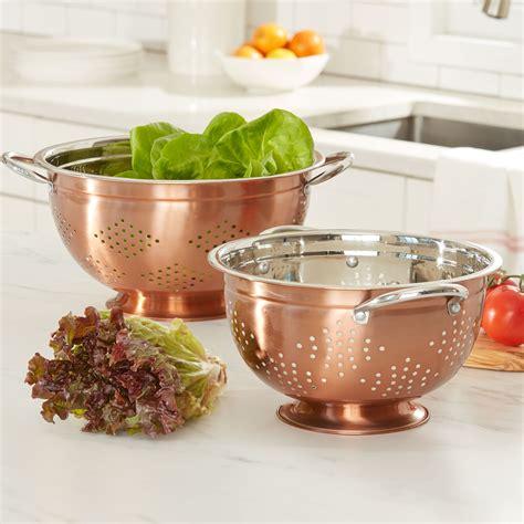 set   copper colanders cookware kitchen appliances brylane home