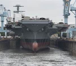 USS Gerald Ford Aircraft Carrier Dry Dock Flooding