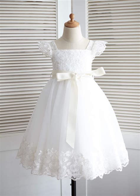 ivory lace tulle puff sleeves knee length flower girl dress