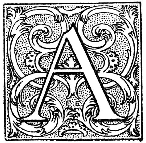 floral initial capital clipart