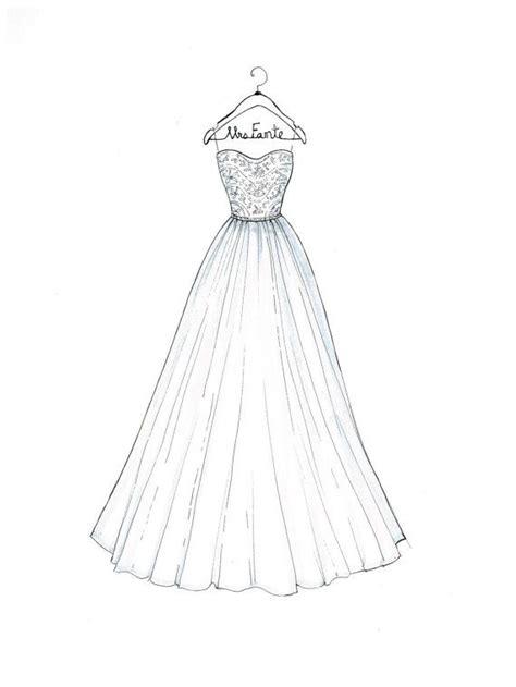 custom wedding dress sketch  drawthedress  etsy