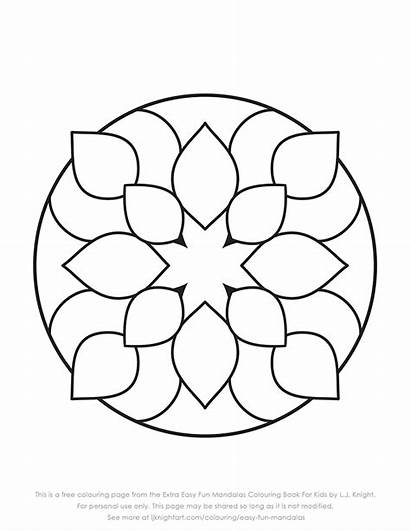 Mandala Colouring Simple Very Easy Pages Mandalas
