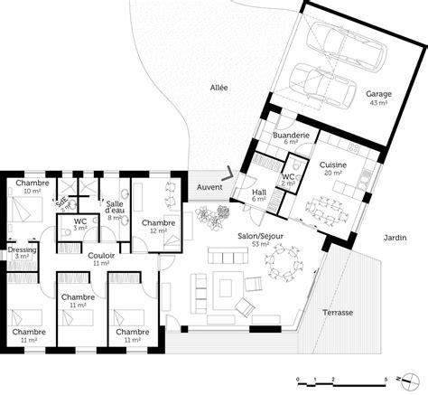 plan maison 5 chambres plain pied plan maison plain pied en v ooreka