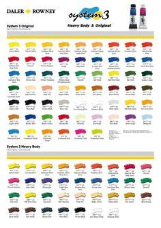 golden heavy body acrylic colour chart painting