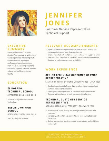 Resumes With Photo by Customize 298 Professional Resume Templates Canva