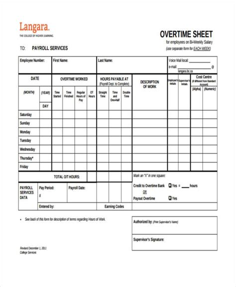 overtime sheet template   word  format