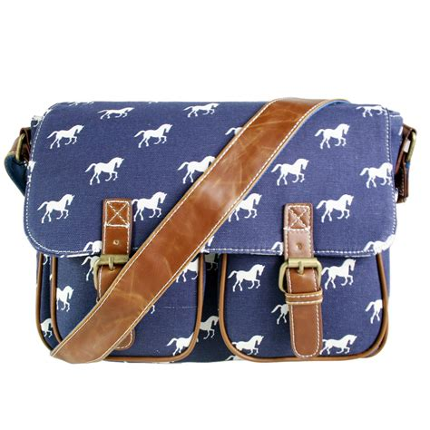 lh  lulu canvas satchel horse navy