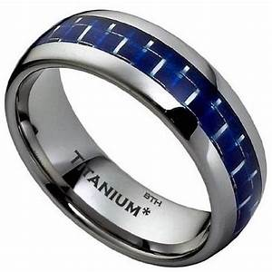 8mm mens titanium brushed classic wedding engagement band ring With mens wedding rings blue