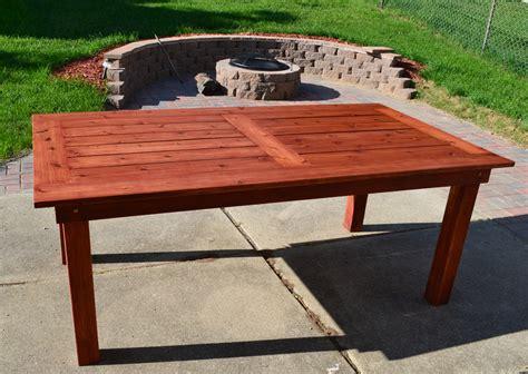 diy patio table bryan s site the finished diy cedar patio table
