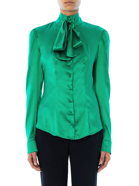 womens green blouse l 39 wren pussybow silk blouse in green lyst
