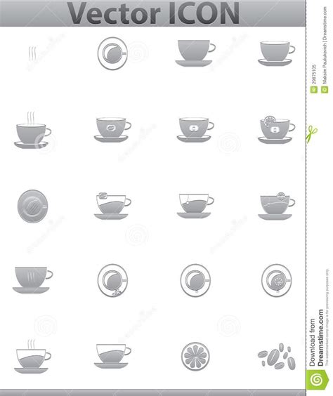 Brown paper coffee or tea cup icon isolated on a beige background vector illustration. Vector Brown Coffee Icons Set. Cup And Cafe Icon Stock Vector - Illustration of profile, cafe ...