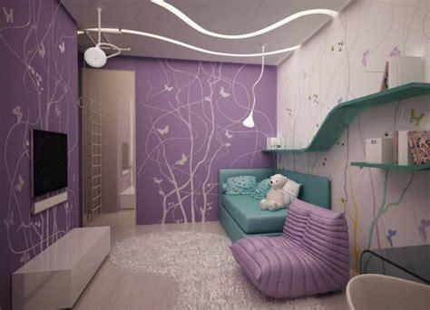 kinderzimmer wandgestaltung schablonen wandgestaltung jugendzimmer m 228 dchen lila wandfarbe