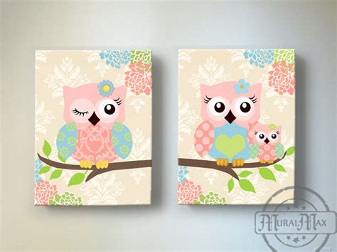 Kids Wall Art Owl Nursery Baby Girl Owl Decor Owl Nursery