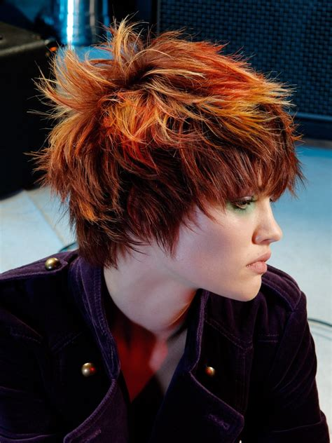 ruffled  fringy punk hairstyle  spiky texture  color transition