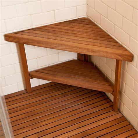 teakworksu deluxe teak corner shower bench  optional