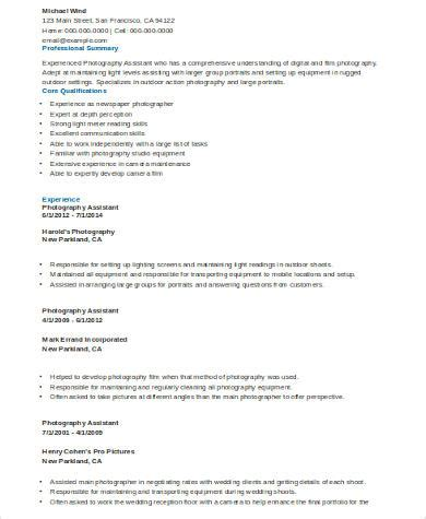 sle photography resume 8 exles in word pdf