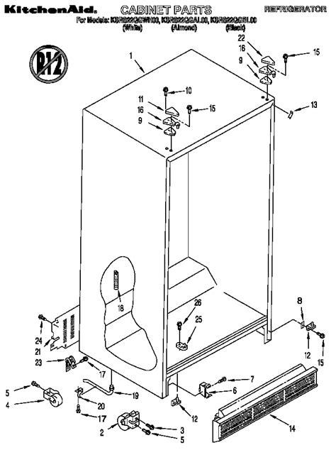 Kitchenaid Fridge Model Number by Kitchenaid Side By Side Refrigerator Parts Model