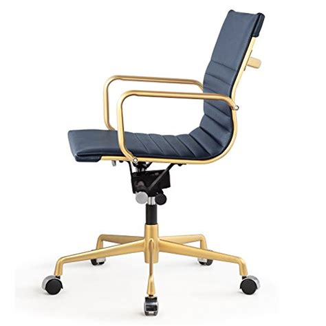 meelano 348 gd nvy office chair in vegan leather gold