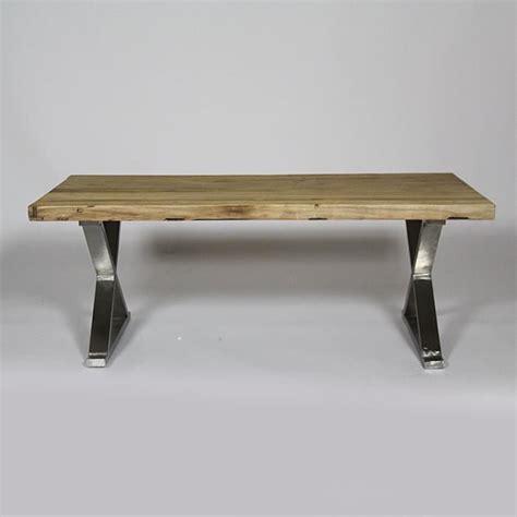 bureau industriel metal bois table basse en orme pieds métal en x 120x60 achat