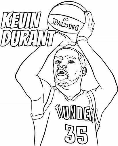 Coloring Kevin Durant Pages Nba Player Sheets