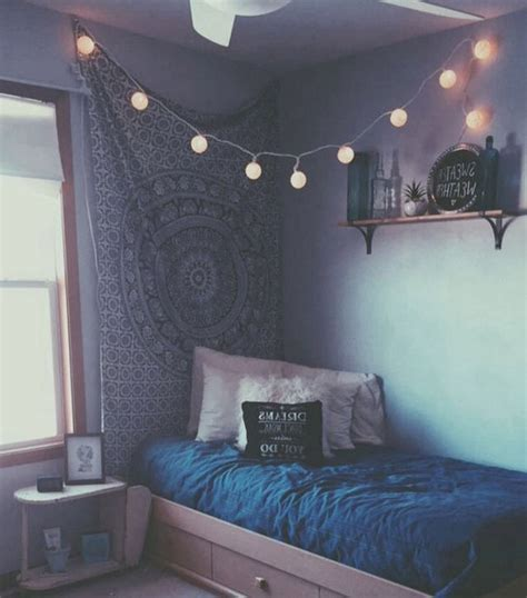 home interiors colors aesthetic bed blue fairylights fres hoom