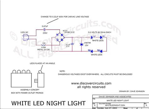 Circuit White Led Night Light Designed David