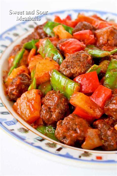 sweet  sour meatballs roti  rice