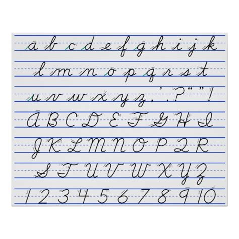 English Alphabet Diagram In Cursive Handwriting Poster Zazzle