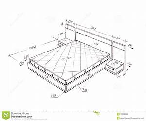 Modern Interior Design Bed Freehand Drawing Stock