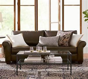 pb comfort roll arm leather sofa pottery barn With pottery barn comfort sofa sectional