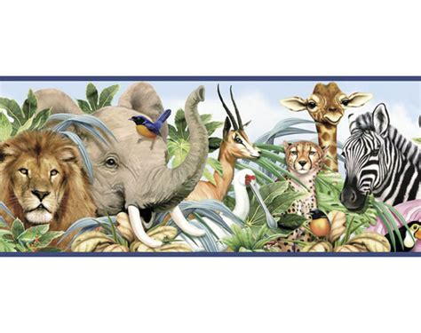 jungle animals pre pasted wallpaper border