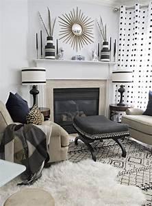 Stunning, Black, And, White, Living, Room