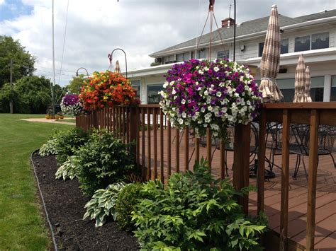 shepherd hooks and hanging baskets on deck outdoors