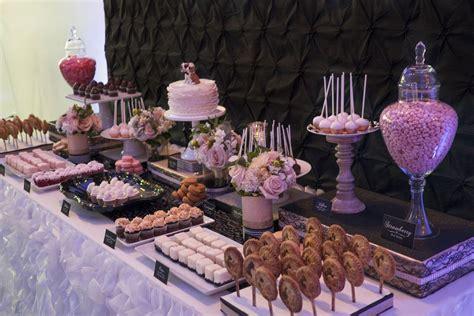 Black White And Blush Wedding Dessert Table Mesa De