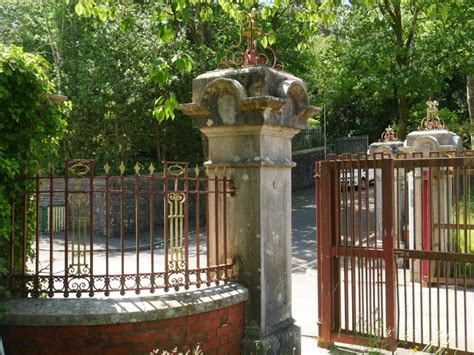 Entrance gate piers and railings to Bronwydd, Porth ...
