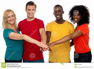 Bonding Of Four Friends. Happy Group Stock Image - Image ...