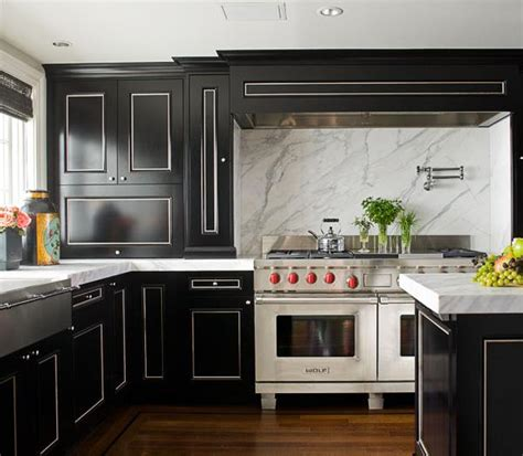 Black Cabinets With Marble Countertops by Black And White Kitchen Transitional Kitchen