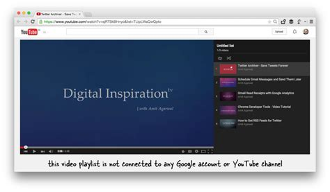 you tub how to create playlists on the fly without logging in