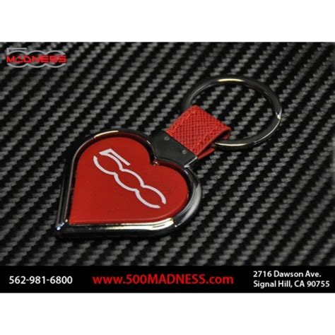 fiat  keychain  heart red fiat  parts