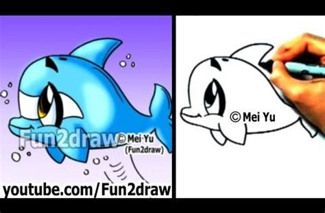 draw  cartoon dolphin   min cute drawings