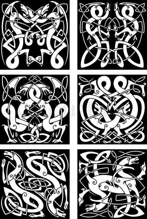 Medieval celtic knot patterns of | Stock vector
