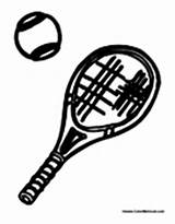 Tennis Racket Coloring Sports Ball Equipment Sheets sketch template