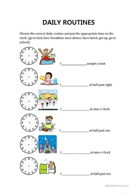 daily routines  hours worksheet  esl printable