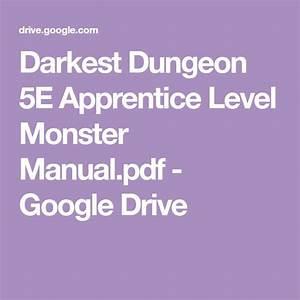Darkest Dungeon 5e Apprentice Level Monster Manual Pdf