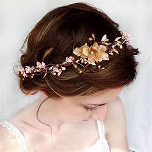 Pink And Gold Bridal Circlet Wedding Flower Headpiece