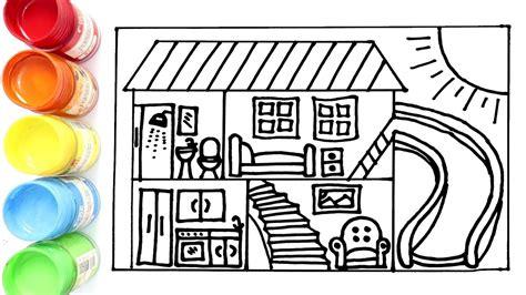 cara menggambar dan mewarnai rumah tingkat yang ada