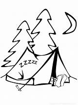 Coloring Camping Pages Sleeping Tent sketch template